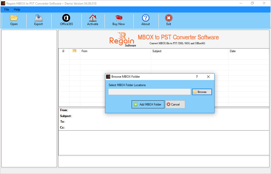 Welcome Screen- Regain MBOX to PST Converter