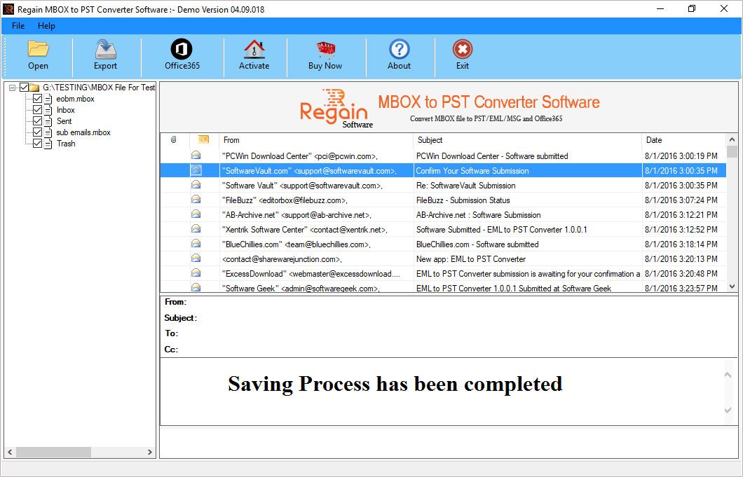 Sucessfully saved mbox itmes to pst format